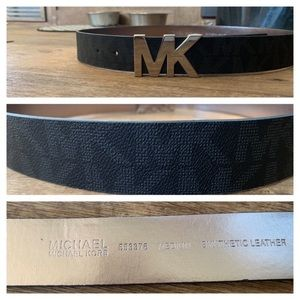 Michael Kors Logo Belt Black & Silver